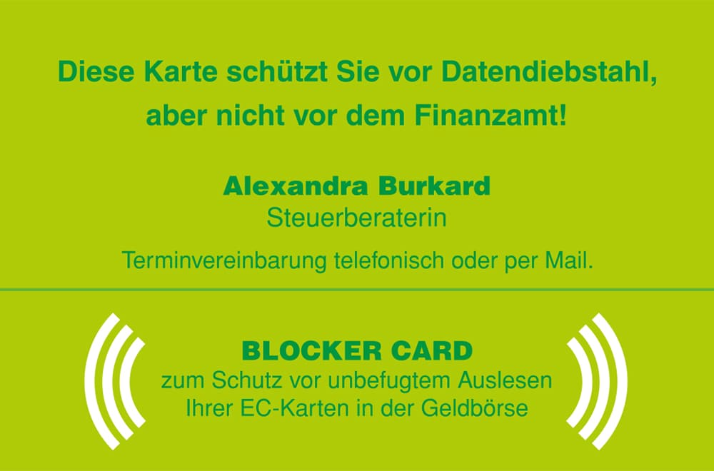 Blockerkarte Hinten - global communication experts